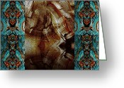 Abstract Greeting Cards - Aliens Pass Greeting Card by Turgay Denizel