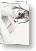 Life Drawing Drawings Drawings Greeting Cards - Alison Greeting Card by Michael McKenzie
