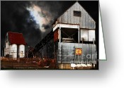 Factories Greeting Cards - Alive and Well in America . Nightfall At The Old Industrial Sand Plant in Berkeley California . 7D13 Greeting Card by Wingsdomain Art and Photography