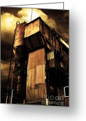 Factories Greeting Cards - Alive and Well in America . The Old Concrete Plant in Berkeley California . Golden . 7D13967 Greeting Card by Wingsdomain Art and Photography