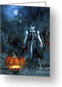Dark Gray Blue Greeting Cards - Alive or Undead Greeting Card by Jutta Maria Pusl