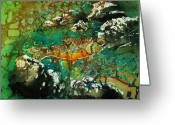 Fish Tapestries - Textiles Greeting Cards - All About Trout Greeting Card by Sue Duda