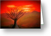 Oak Pastels Greeting Cards - All Alone Greeting Card by Melvin Moon