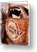 Old Car Door Greeting Cards - All American Greeting Card by Debra and Dave Vanderlaan