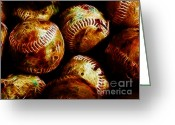 Baseball Greeting Cards - All American Pastime - A Pile of Fastballs - Electric Art Greeting Card by Wingsdomain Art and Photography
