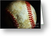 Baseball Greeting Cards - All American Pastime - Baseball - Painterly Greeting Card by Wingsdomain Art and Photography