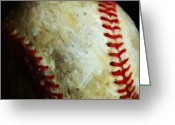 Baseball  Digital Art Greeting Cards - All American Pastime - Baseball - Square - Painterly Greeting Card by Wingsdomain Art and Photography
