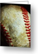 New York Yankees Greeting Cards - All American Pastime - Baseball - Vertical Cut - Painterly Greeting Card by Wingsdomain Art and Photography