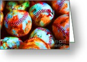 Baseball  Digital Art Greeting Cards - All American Pastime - Pile of Baseballs - Painterly Greeting Card by Wingsdomain Art and Photography