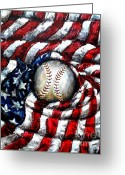 Baseball All Stars Greeting Cards - All American Greeting Card by Shana Rowe