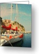 Sails Digital Art Greeting Cards - All Ashore Greeting Card by Jeff Kolker