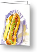 Yellow Dog Greeting Cards - All Beef Ballpark Hot Dog with the Works to Go in Broad Daylight III Greeting Card by Kip DeVore