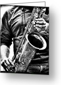 Blues Greeting Cards - All Blues Man With Jazz On The Side Greeting Card by Bob Orsillo