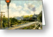 Traffic Light Greeting Cards - All Clear on the Pere Marquette Railway  Greeting Card by Michelle Calkins