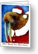 Christmas Greeting Cards - All I Want For Christmas... Greeting Card by Will Bullas
