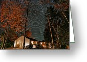 Startrail Greeting Cards - All Night Star Trails Greeting Card by Larry Landolfi