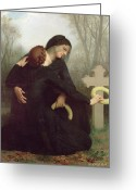 Black Widow Painting Greeting Cards - All Saints Day Greeting Card by William Adolphe Bouguereau