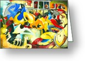 Mood Art Painting Greeting Cards - All That Jazz Greeting Card by Elisabeta Hermann