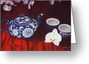 Tea Pastels Greeting Cards - All the Tea in China Greeting Card by Colleen Brown