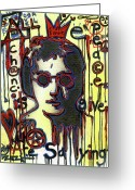 Lennon Mixed Media Greeting Cards - All We Are Saying Greeting Card by Robert Wolverton Jr