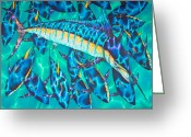 Pelagic Fish Tapestries - Textiles Greeting Cards - All Yellow Greeting Card by Daniel Jean-Baptiste