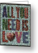 The Beatles Mixed Media Greeting Cards - All You Need IS Love Mosaic Greeting Card by Paul Van Scott