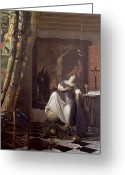 Vermeer Greeting Cards - Allegory of the Faith Greeting Card by Jan Vermeer
