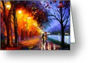 Oil Greeting Cards - Alley By The Lake Greeting Card by Leonid Afremov