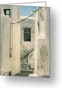 Abandoned Houses Greeting Cards - alley in Greece Greeting Card by Joana Kruse