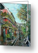 New Orleans Artist Greeting Cards - Alley Jazz Greeting Card by Dianne Parks