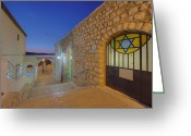 Star Of David Greeting Cards - Alleyway Between Buildings Greeting Card by Noam Armonn