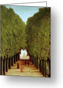 Tree-lined Greeting Cards - Alleyway in the Park Greeting Card by Henri Rousseau