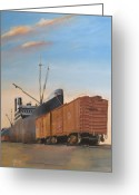 Trains Painting Greeting Cards - Allied Orient Lines Greeting Card by Christopher Jenkins