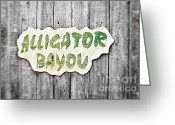 Selective Color Greeting Cards - Alligator Bayou Greeting Card by Scott Pellegrin
