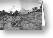 Western Sky Greeting Cards - Almost Home BW Greeting Card by Dan Turner
