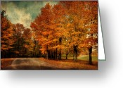 Autumn Roads Greeting Cards - Almost Home Greeting Card by Lois Bryan