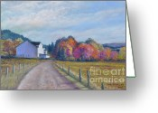 Autumn Roads Greeting Cards - Almost Home Greeting Card by Penny Neimiller