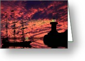 "\""pirate Ship\\\"" Greeting Cards - Almost Home Greeting Card by Shane Bechler"