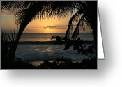 Islands Digital Art Greeting Cards - Aloha Aina the Beloved Land - Sunset Kamaole Beach Kihei Maui Hawaii Greeting Card by Sharon Mau
