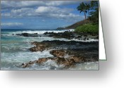 Hawaiian Art Digital Art Greeting Cards - Aloha Island Dreams Paako Beach Makena Secret Cove Hawaii Greeting Card by Sharon Mau