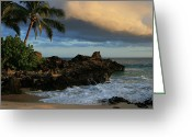 Golden Sand Greeting Cards - Aloha Naau Sunset Paako Beach Honuaula Makena Maui Hawaii Greeting Card by Sharon Mau