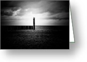 Black And White Photos Mixed Media Greeting Cards - Alone at Sea - Black and White Nature Photograph Greeting Card by Artecco Fine Art Photography - Photograph by Nadja Drieling