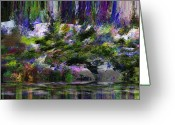 Lakescape Greeting Cards - Alone by the Lake Greeting Card by Ron Bissett