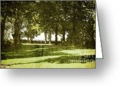 Empty Park Bench Greeting Cards - Alone Greeting Card by Madeline Ellis