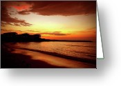 Jamaican Sunsets Greeting Cards - Alone on the Beach Greeting Card by Kamil Swiatek