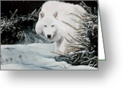 Dogs Pastels Greeting Cards - Alone On The Path Greeting Card by David Vincenzi