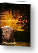 Cemetery Greeting Cards - Alone under the Sycamore Greeting Card by Leah Moore
