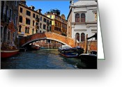 Gondola Digital Art Greeting Cards - Along the Canals of Venice Greeting Card by Bill Cannon