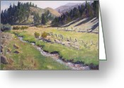 Green Field Painting Greeting Cards - Along the Creek Greeting Card by Sharon Weaver