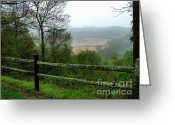 Split-rail Fence Greeting Cards - Along the Natchez Trace Greeting Card by Julie Dant